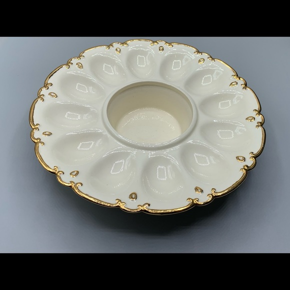 Ceramic egg plate with gold trim & built in bowl